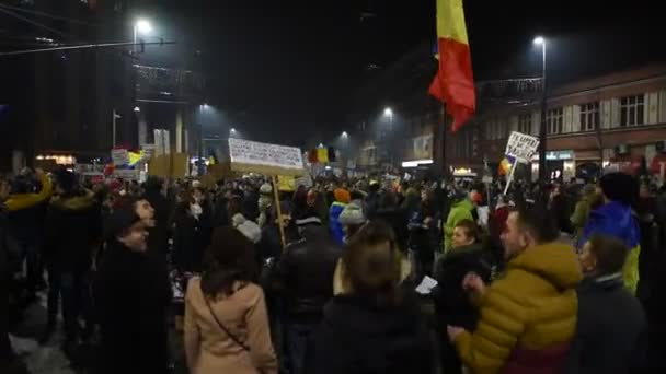Crowd of people protesting against corrupt Romanian Government and Prime Minister
