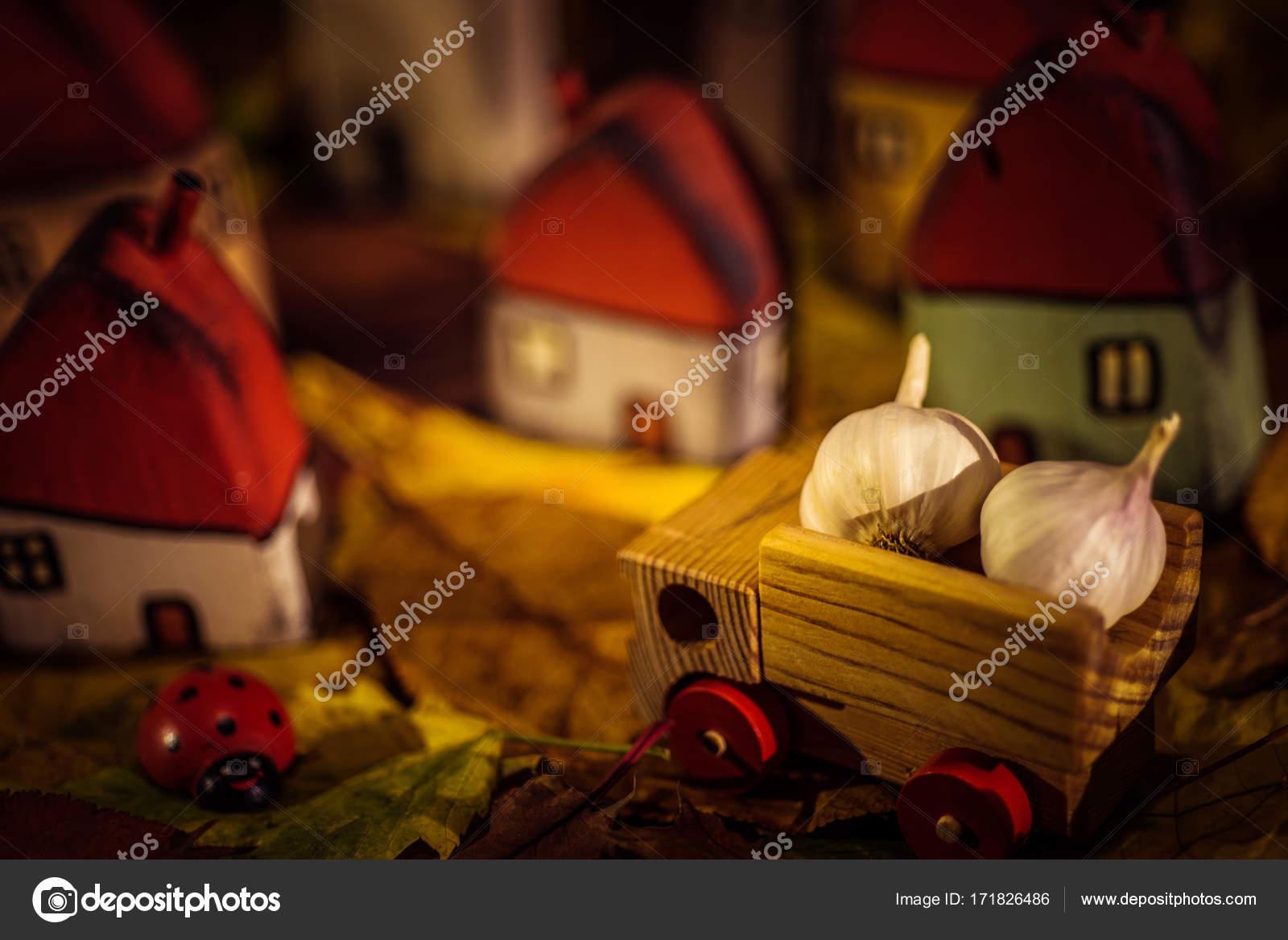 e0289a4c9aea Παραμυθένιο χωριό νάνος με μικρά σπίτια και ένα καλάθι σε Φθινοπωρινό  δάσος. Χειροποίητα ξύλινα παιχνίδια — Εικόνα από ...