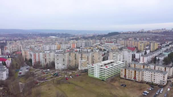 Aerial view of Manastur neighborhood residential area, real estate, demographic explosion,  agglomeration of flat of blocks built in the Communist Soviet period of dictator Ceausescu in Cluj Napoca, Romania