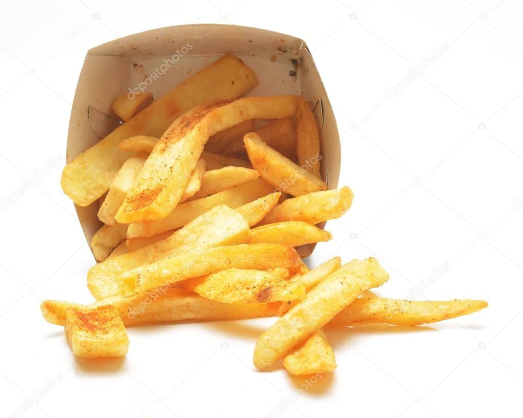 french fries in a paper wrapper on white background