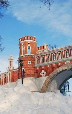 Architecture of Tsaritsyno park in Moscow. Color photo.