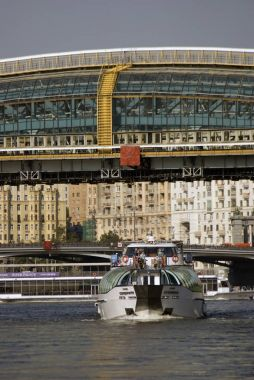 Cruise yachts sail on the Moscow river