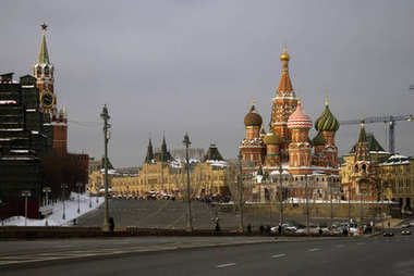 Saint Basils Cathedral on the Red Square in Moscow. Color winter photo.