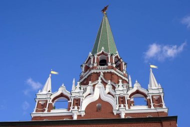 Moscow Kremlin, UNESCO World Heritage Site. Blue sky background. Color winter photo.