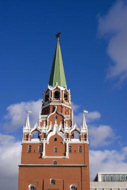 Architecture of Moscow Kremlin. Popular landmark. Color photo.