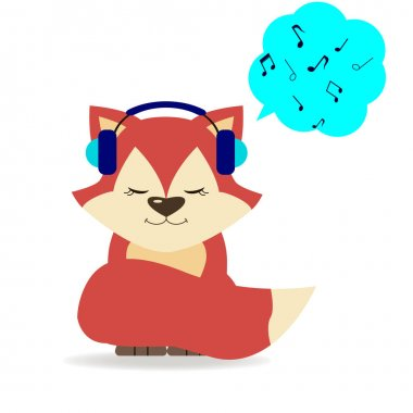 Fox in headphones.