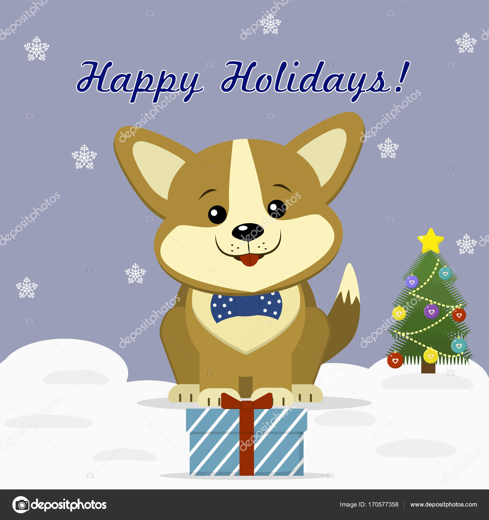 Christmas card with a cute dog Corgi in a bow tie, sitting next to a ...