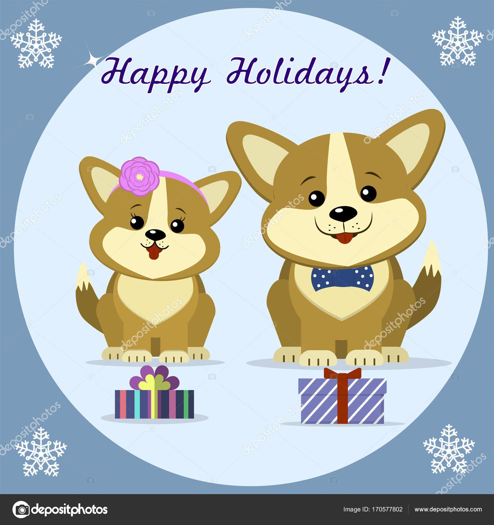 Kerstkaart Met Twee Schattige Hond Corgi De Sit Naast Geschenk