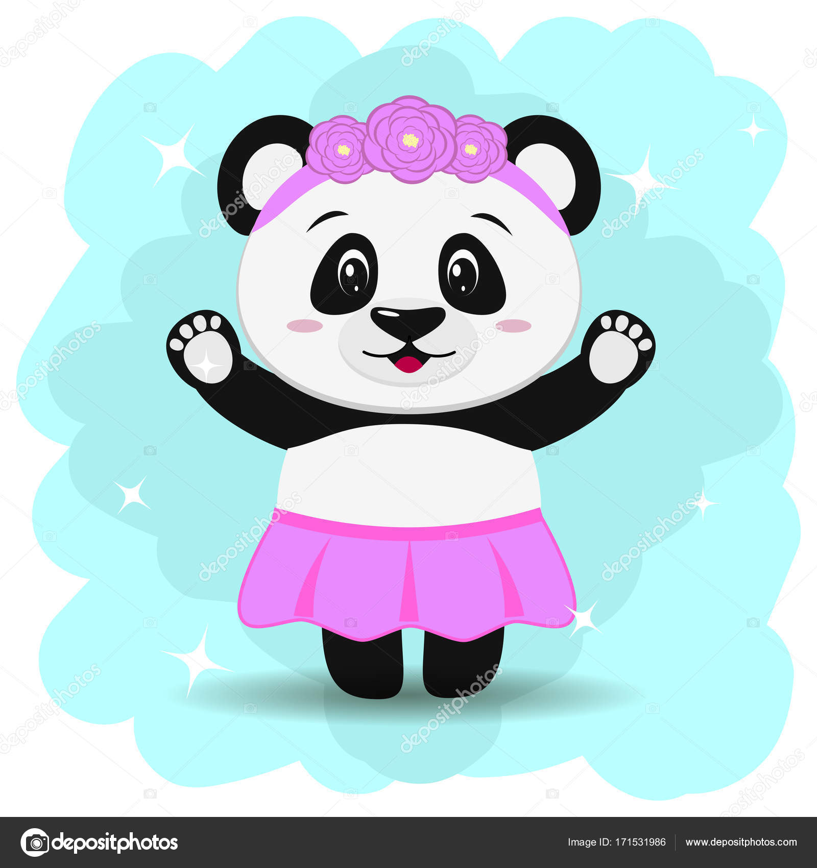 Animated Skirt a sweet panda in a skirt and with a wreath, in the style of