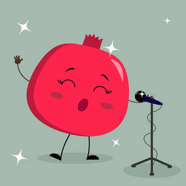 Cute Garnet Smiley in a cartoon style sings into the microphone.