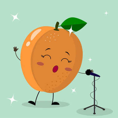 Cute apricot Smiley in a cartoon style sings into the microphone.