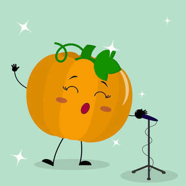 Cute pumpkin smiley in a cartoon style sings into the microphone.