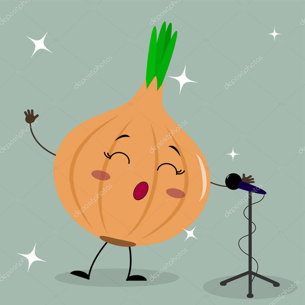 Cute onion smiley in a cartoon style sings into the microphone.