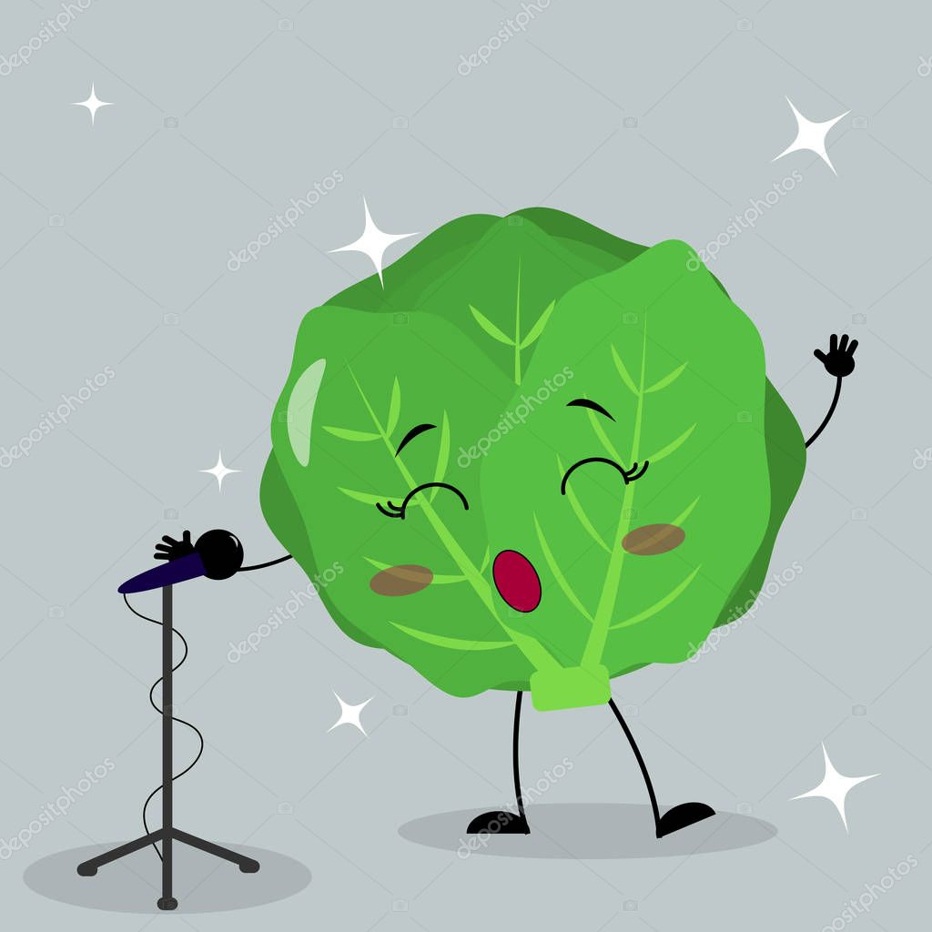 Cute cabbage smiley in a cartoon style sings into the microphone.
