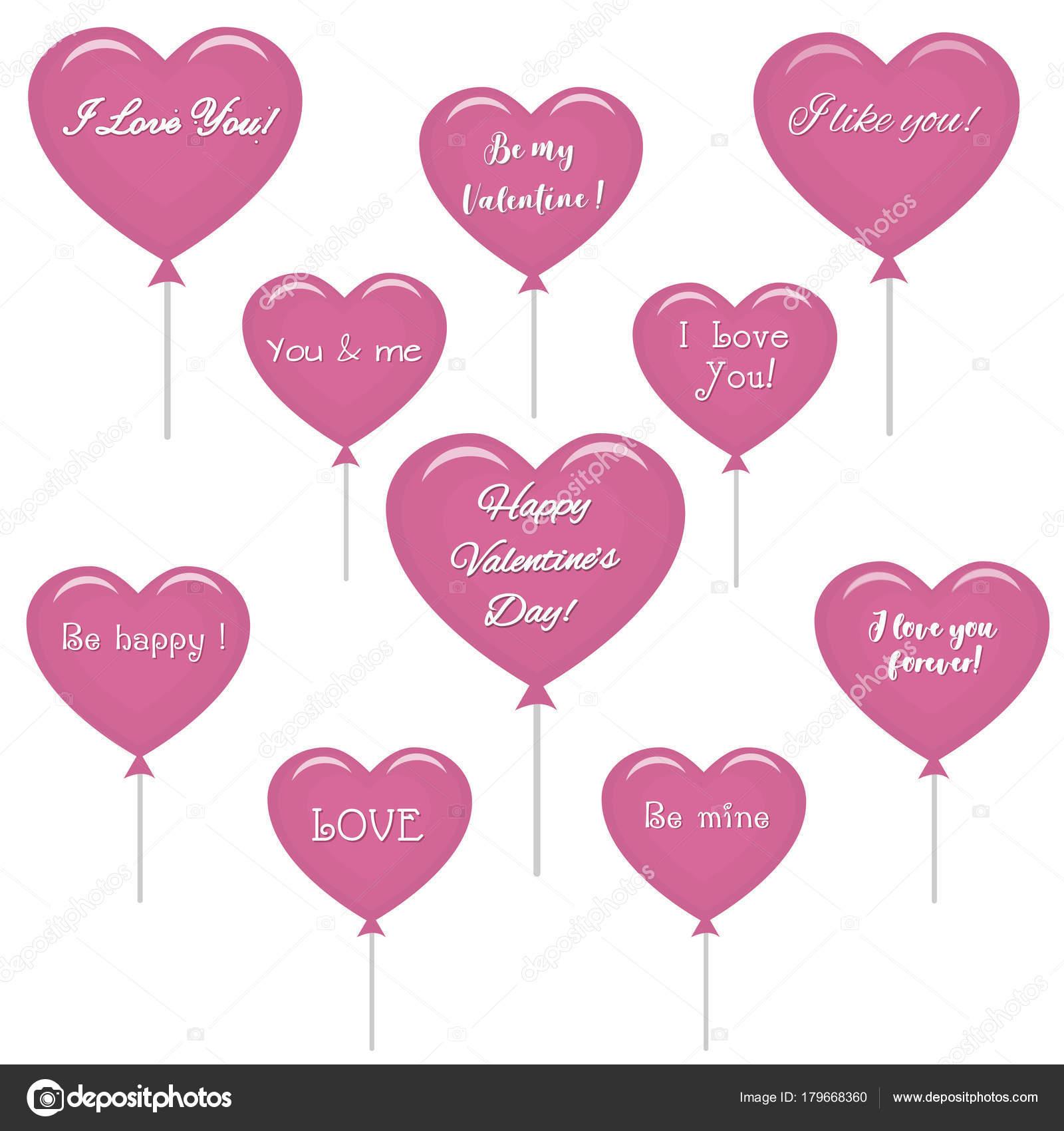 Set Roze Ballonnen In De Vorm Van Een Hart Met Tekst Over