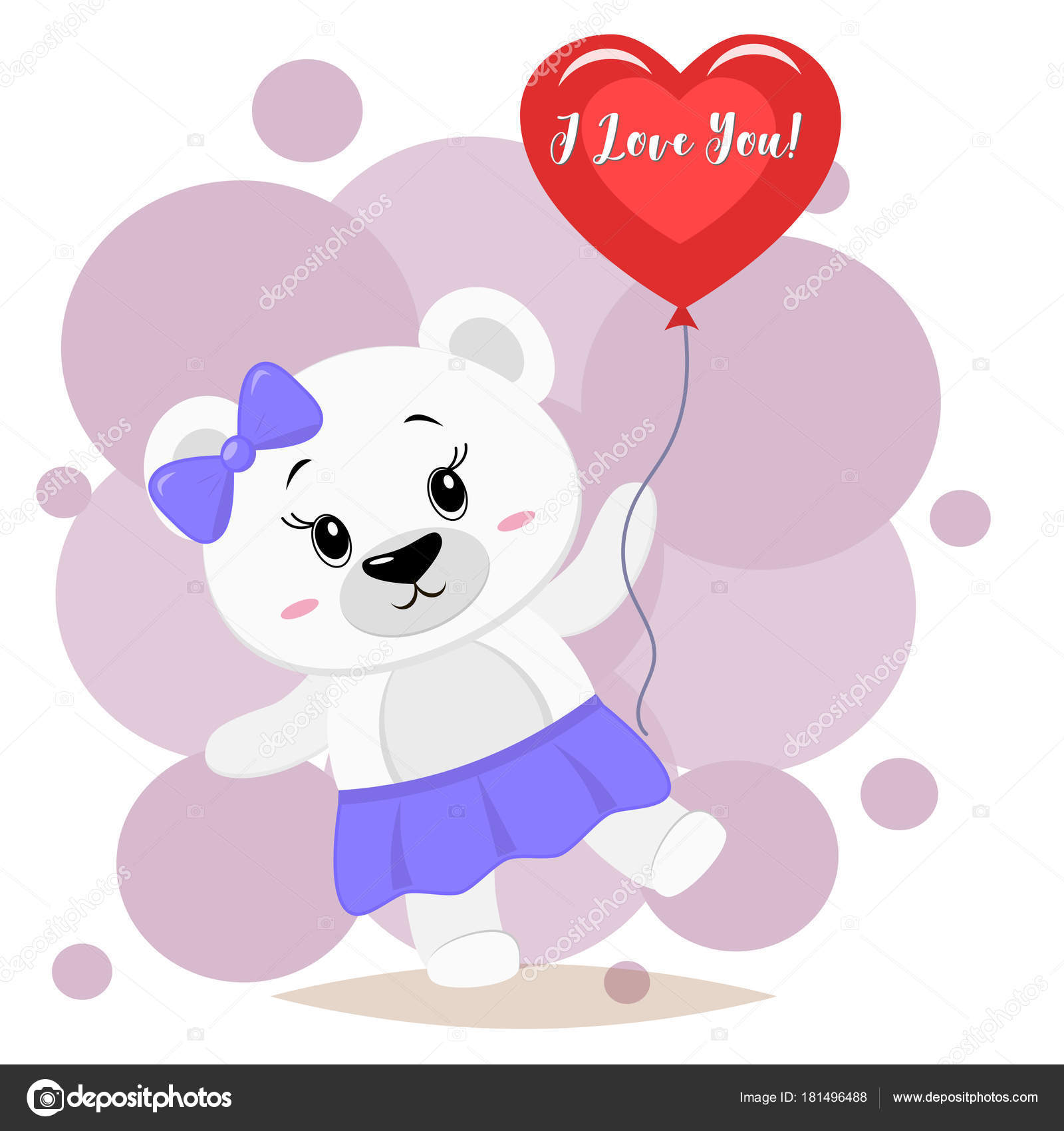 ed88bd2b9 Polar bear with a purple bow holds a red ball in the paws, in the ...
