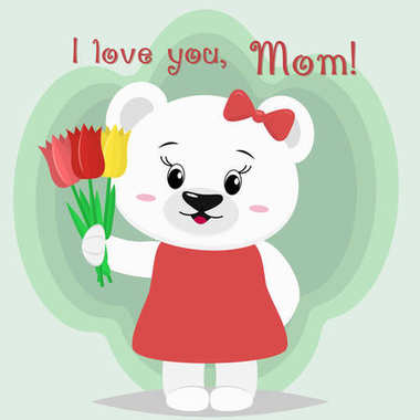 A nice polar bear stands and keeps three tulips in its paws, congratulates mothers in the style of cartoons.