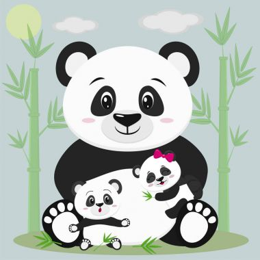 A sweet panda sits and holds a child with a bow, next to it sits another baby, he is surprised. Against the backdrop of bamboo trees, clouds and sun. Style cartoon, flat, vector. clip art vector