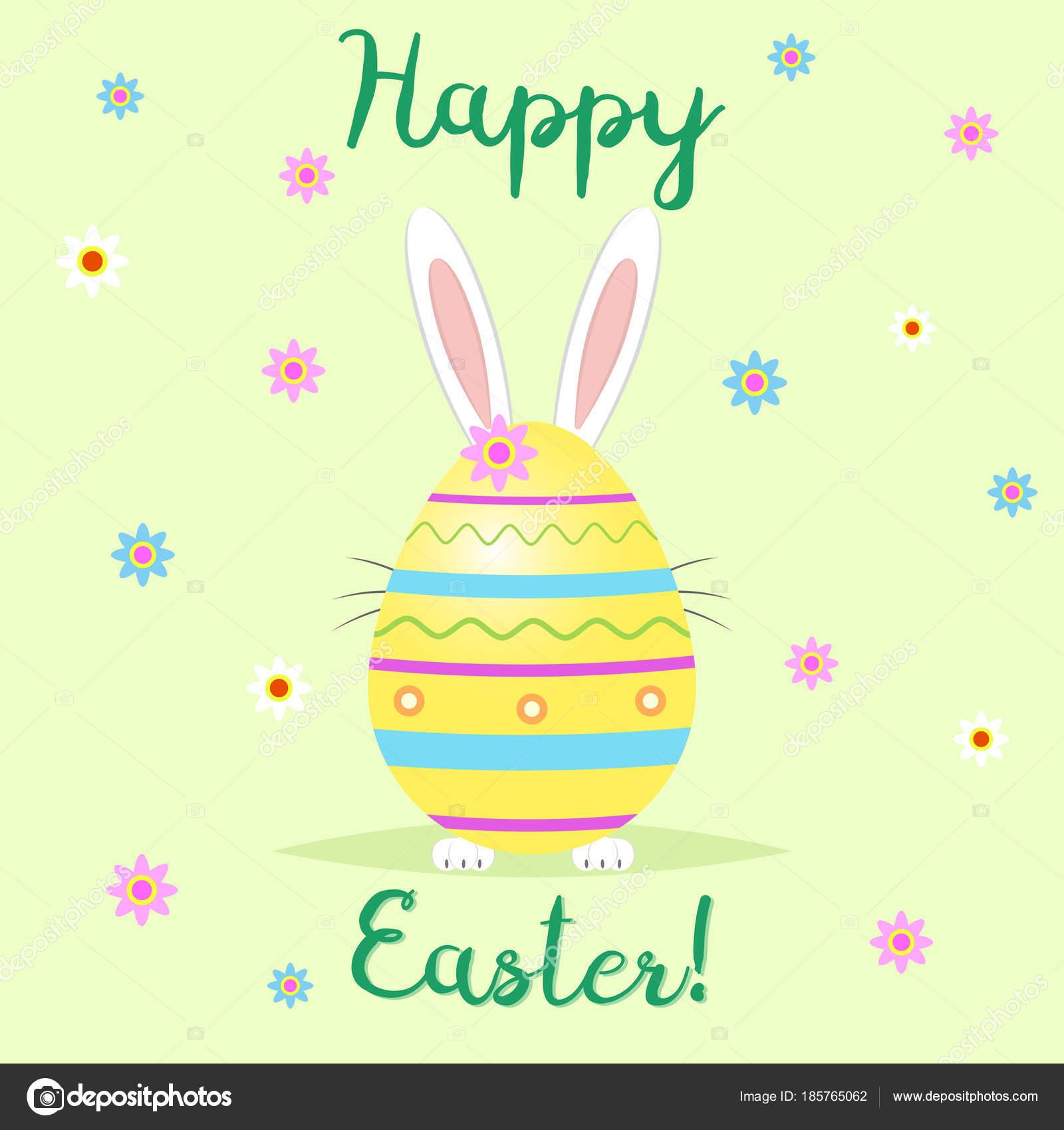 gefeliciteerd met pasen De paashaas staat achter een gele decoratieve ei. Gefeliciteerd  gefeliciteerd met pasen