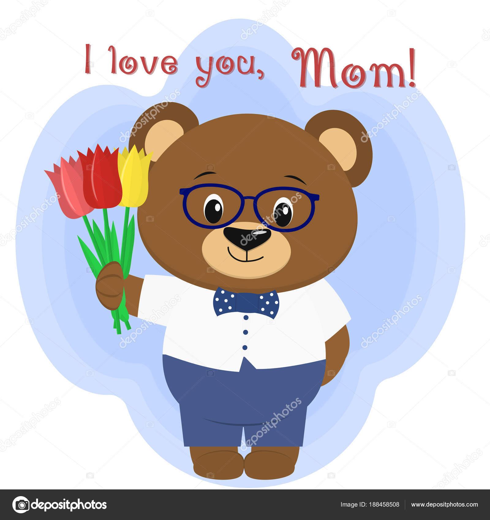 um urso marrom bonito detém três tulipas parabéns pelo dia da sua