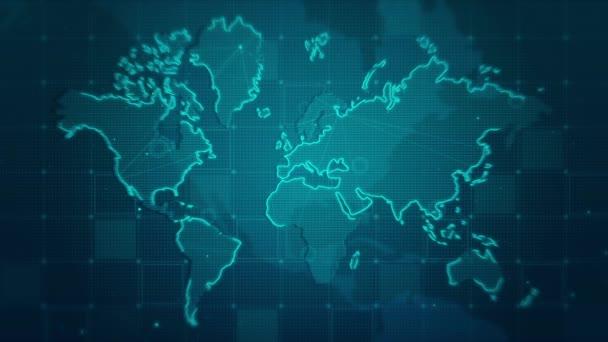 Weltkarte digitales Technologie-Konzept, Business-Netzwerk-Hintergrund, Karte digitale Tech-Präsentation.