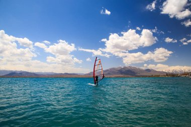 Windsurfing. Mountain Lake