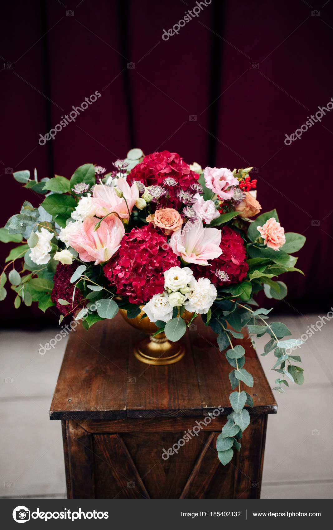 Luxurious bouquet with white and purple flowers in a vase on a luxurious bouquet with white and purple flowers in a vase on a wooden stand stock izmirmasajfo