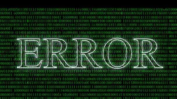 Computer Data Error Wall of Green Binary Code Abstract Vhs Noise Error  screen blinking Digital signal error Background for visuals or as  motion Alpha Matte  4k