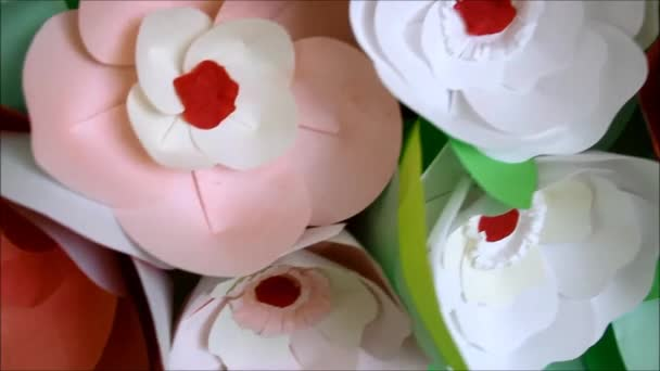 Decorations Made From Paper Flowers Stock Video Yulyneux