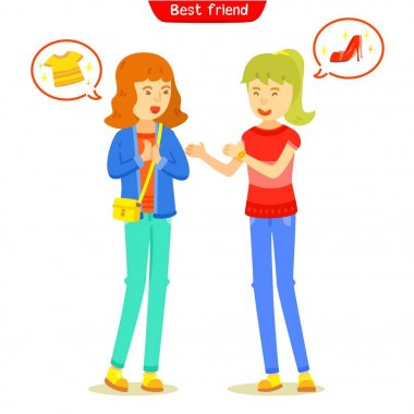 Two girl talking about fashion or shopping, Girlfriend meeting and talking friendly, The familiarity of their greeting, Two character girl teen with chat box, Asking a friend to go shopping together