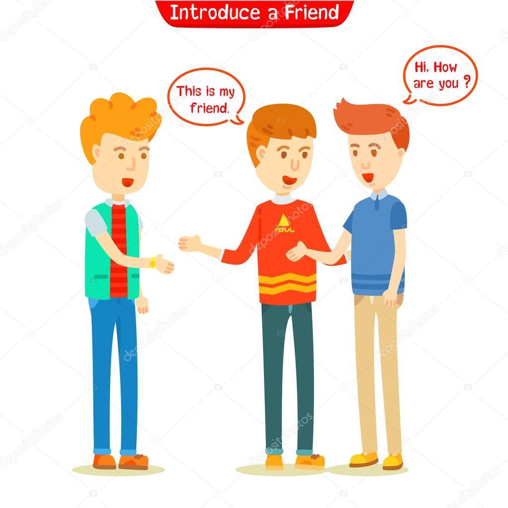 Three Guys Talking New Friend Men Introduced New Friend