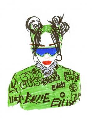 fashionable stylish girl singer billie eilish. hand drawing fashion illustration