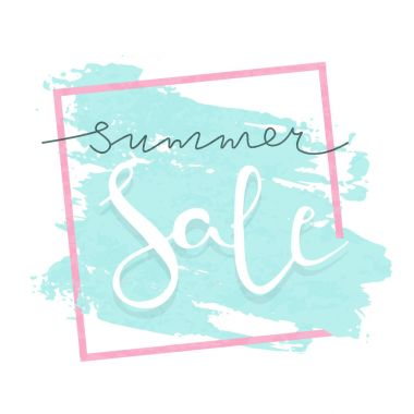Summer sale vector lettering illustration for banners. Summer sale calligraphy background.