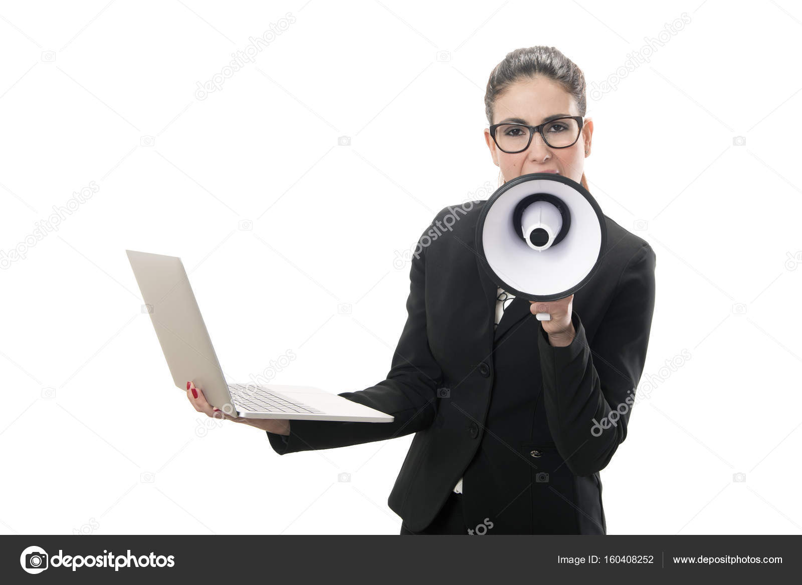 5d604a9eb3c5c Portrait of a pretty businesswoman yelling over the megaphone — Stock Photo