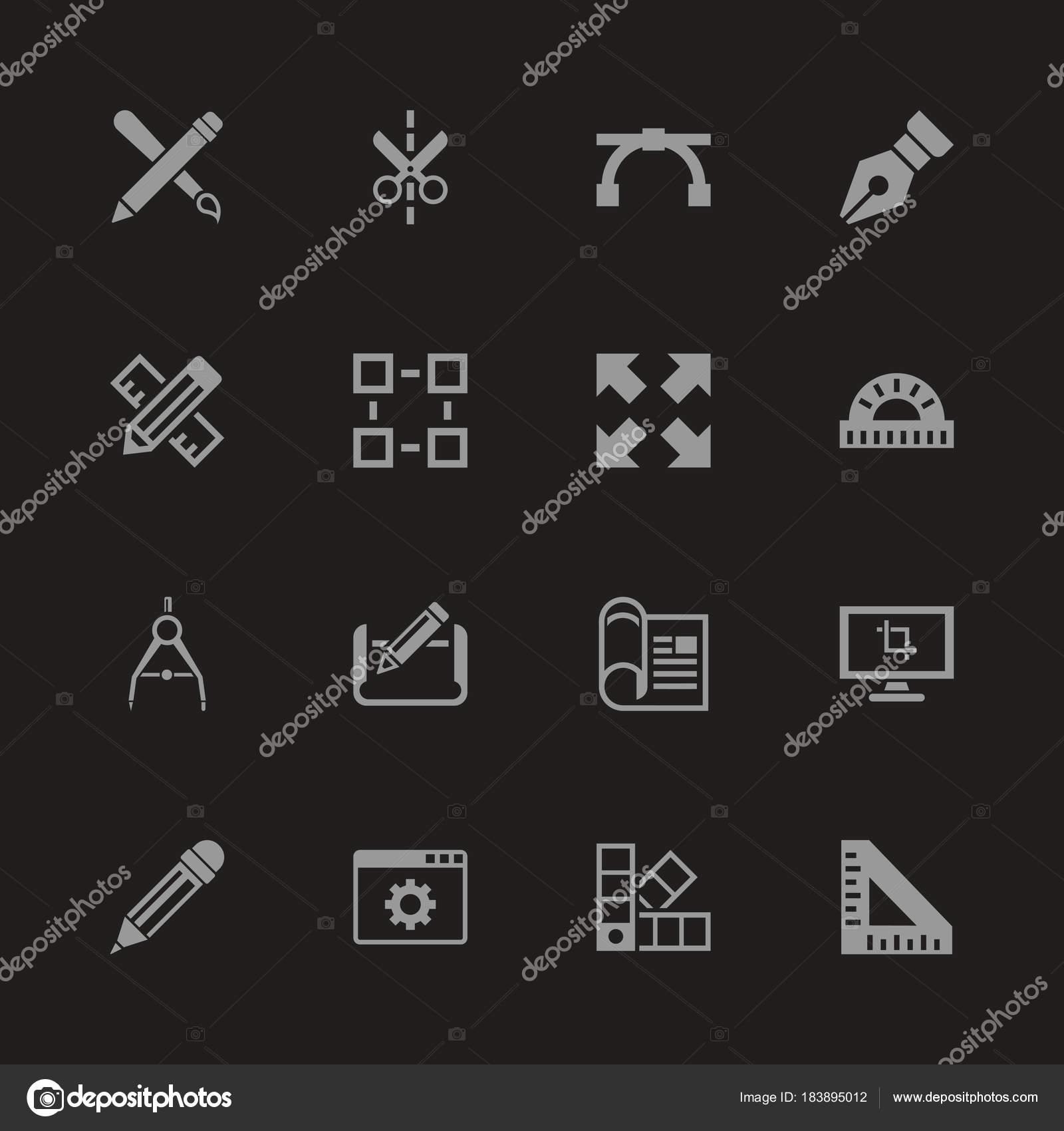 Bauplan - flache Vektor-Icons — Stockvektor © arctina2059.gmail.com ...