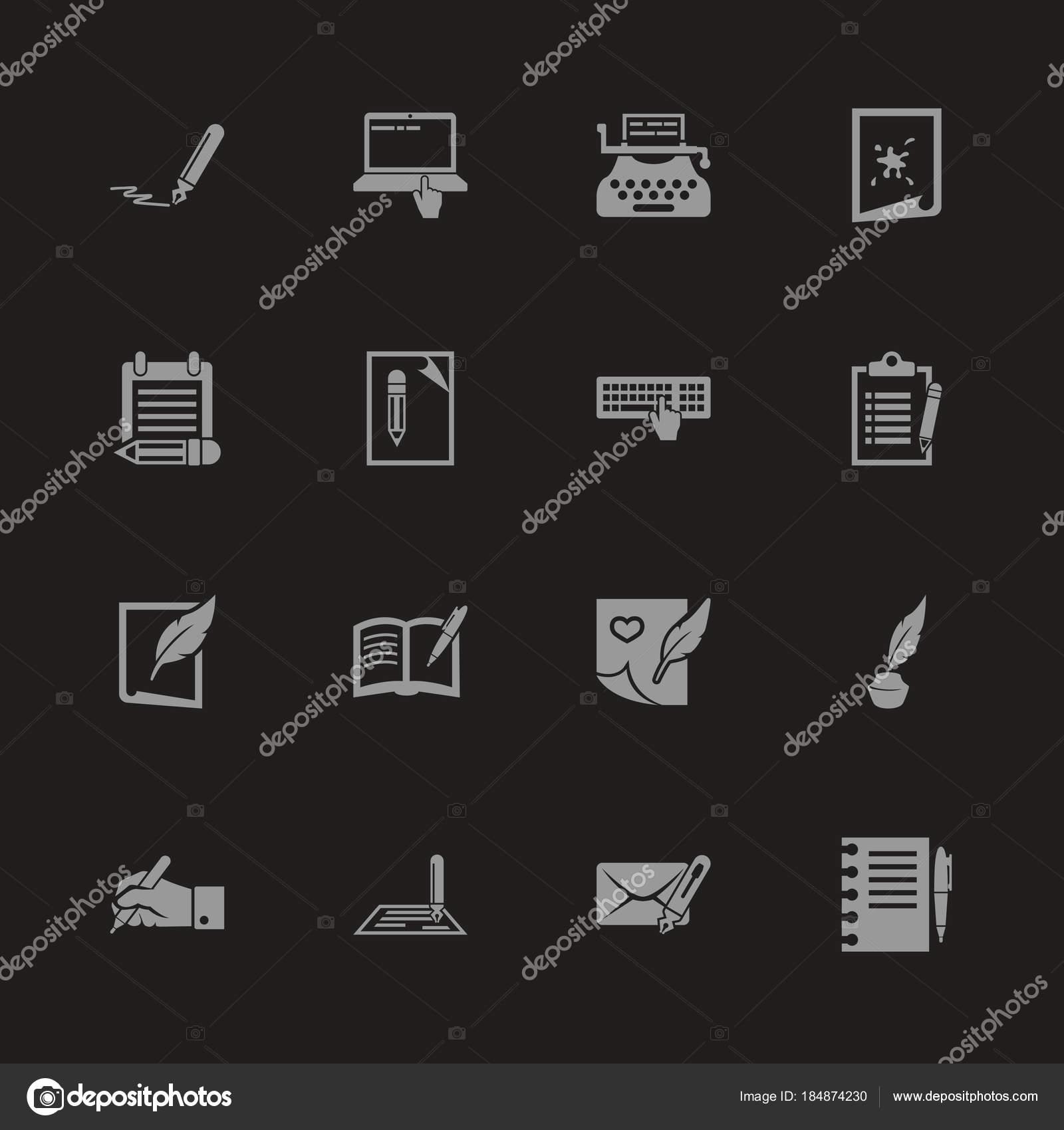 Escritura - plano Vector iconos — Vector de stock © arctina2059 ...