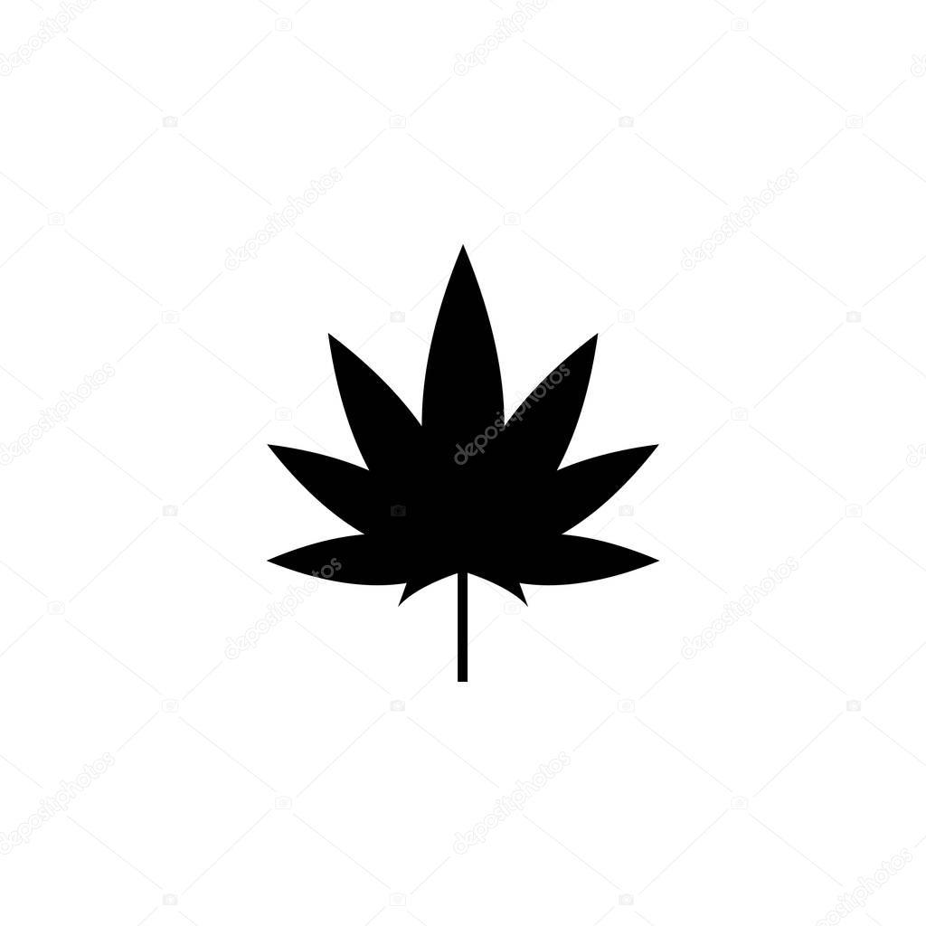 Cannabis Marijuana Leaf Hemp Flat Vector Icon