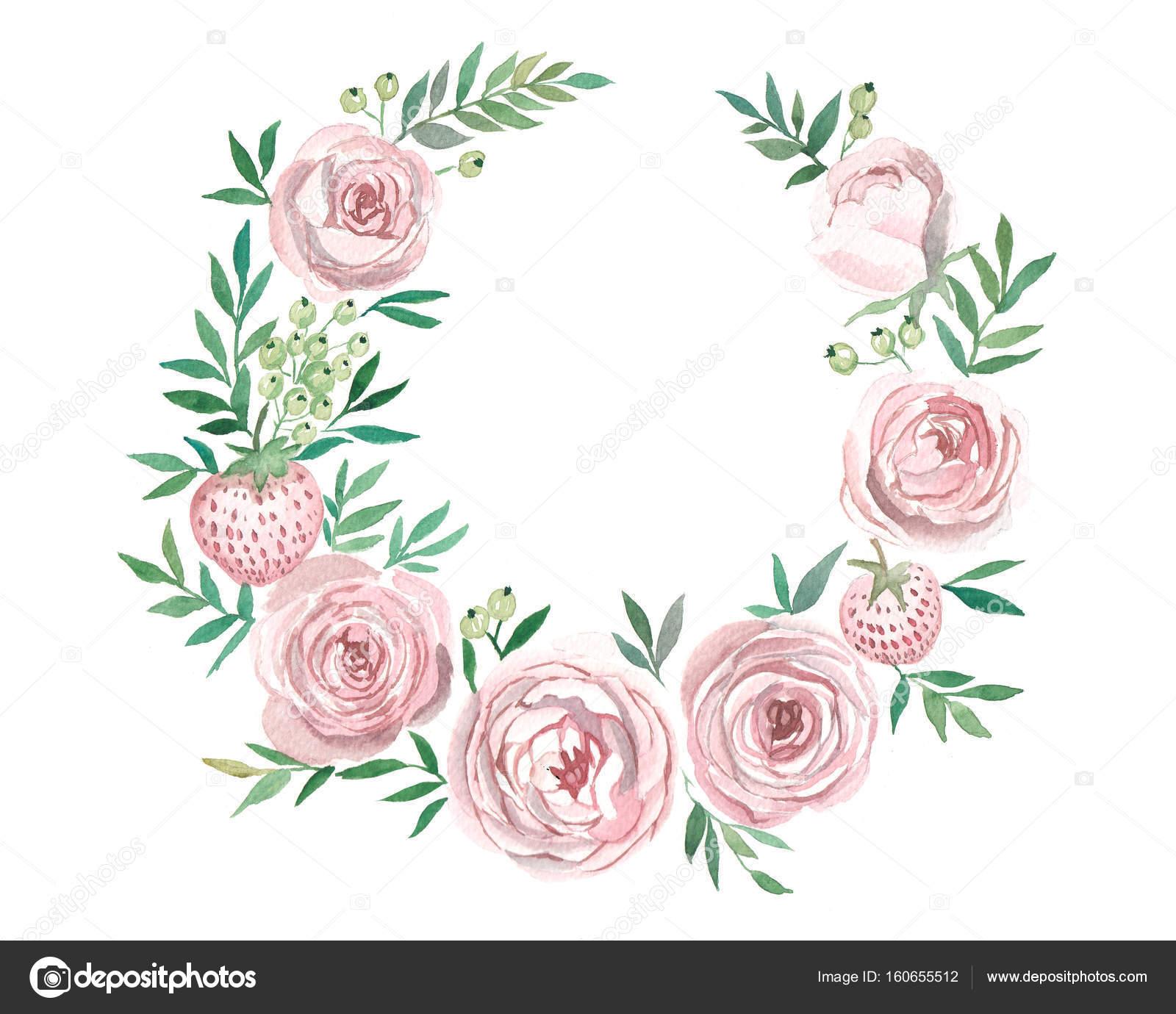 Kranz aus Blumen in Aquarell Stil mit weißem Hintergrund — Stockfoto ...