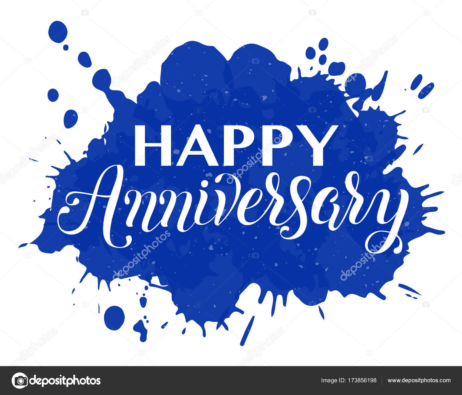 happy anniversary hand lettering stock vector