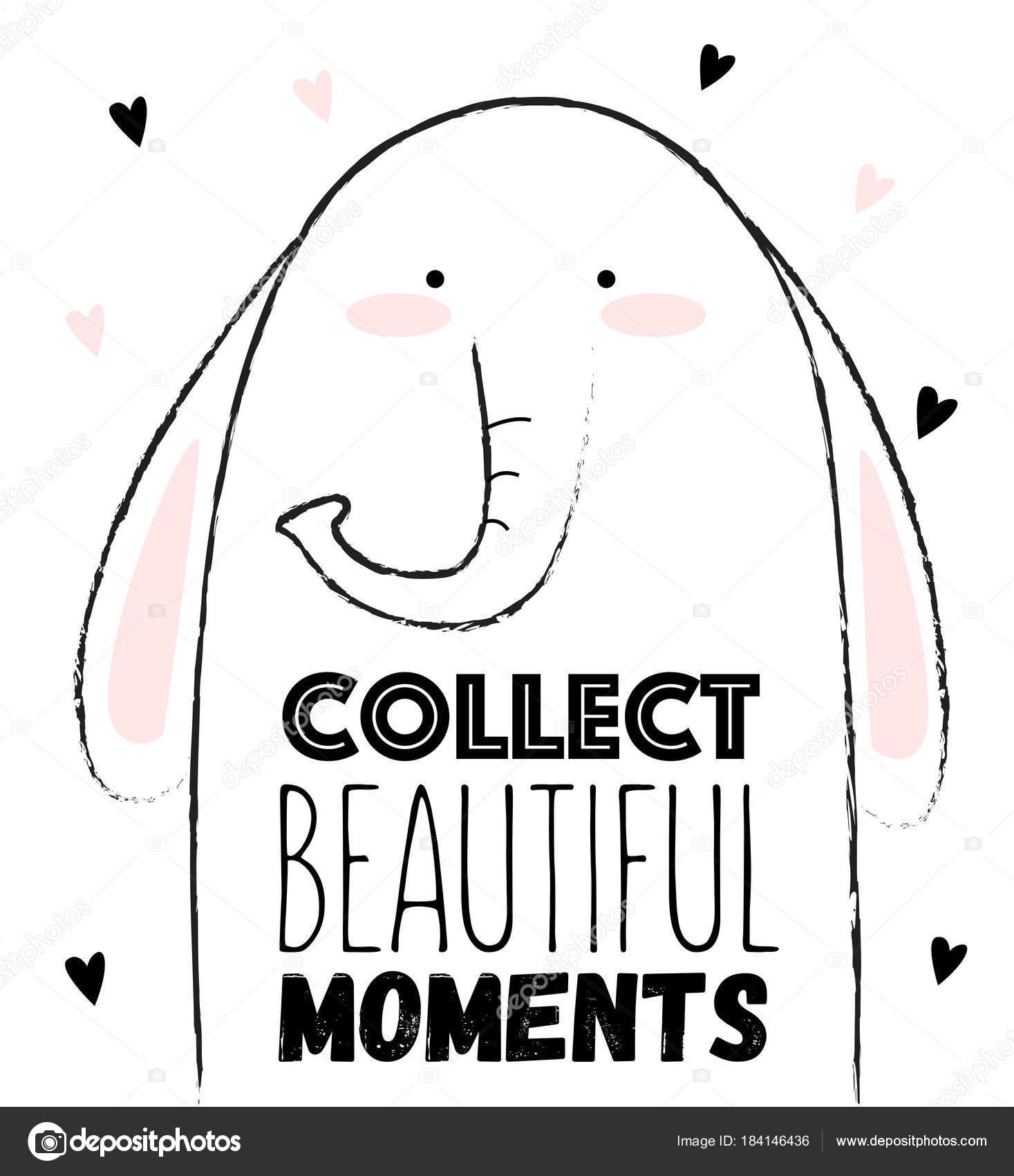 Cartão De Vetor De Elefante Fofo Vetores De Stock Tinyselena