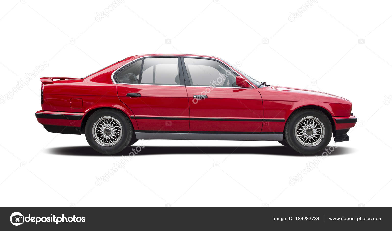 Red Family Sedan Premium Car Side View Isolated White Background