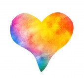 akvarel abstraktní srdce na bílém
