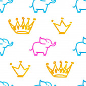 Seamless pattern with elephants and crowns