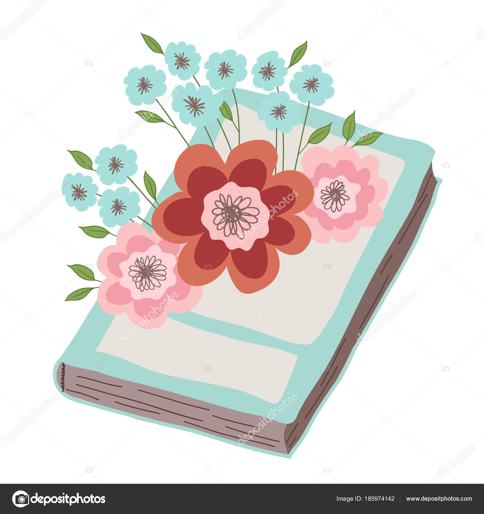 Pink Blue Flowers Lie Book Illustration White Background Stock