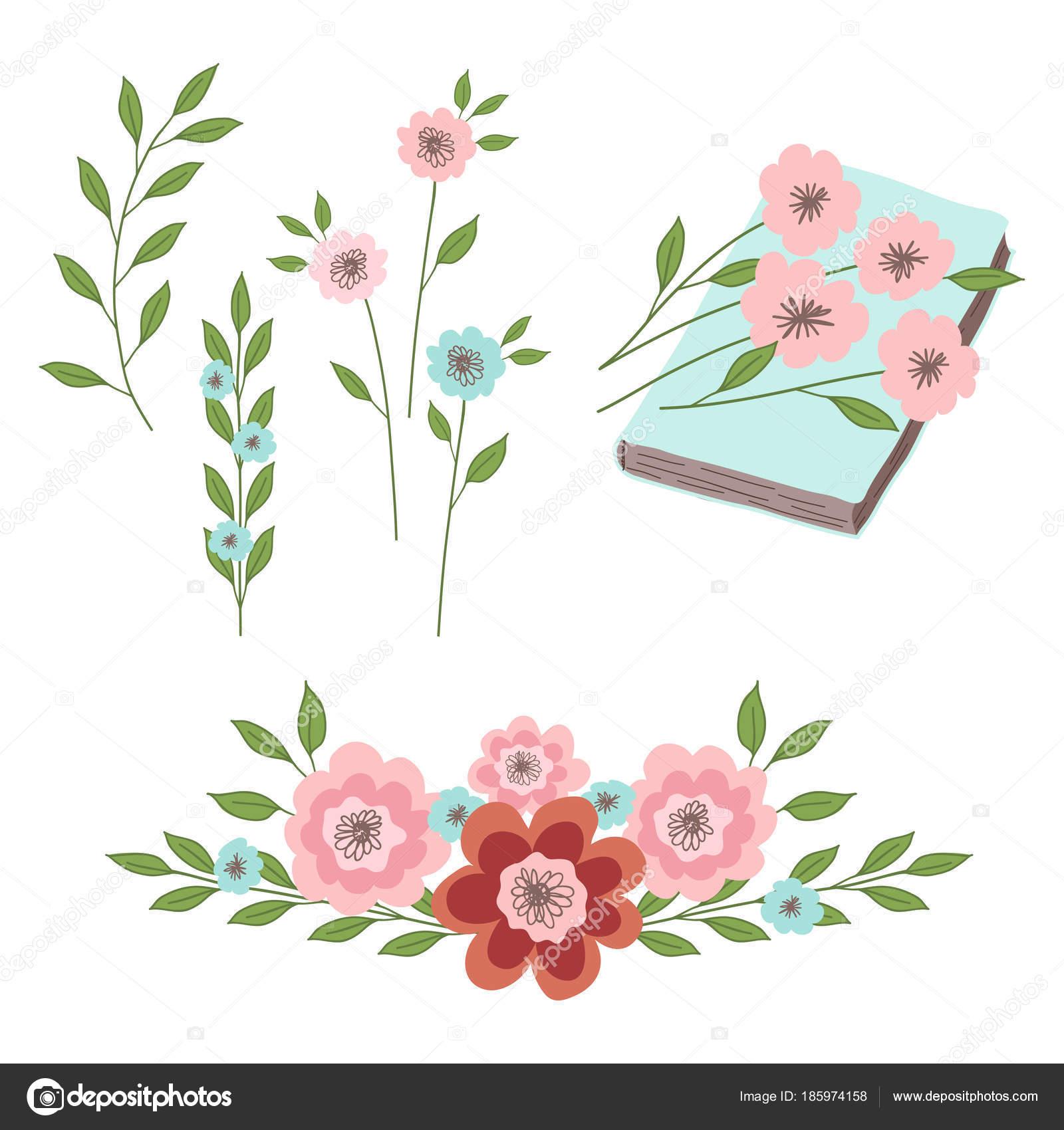 Conjunto Adornos Florales Flores Con Hojas Libro Ilustraciones Para