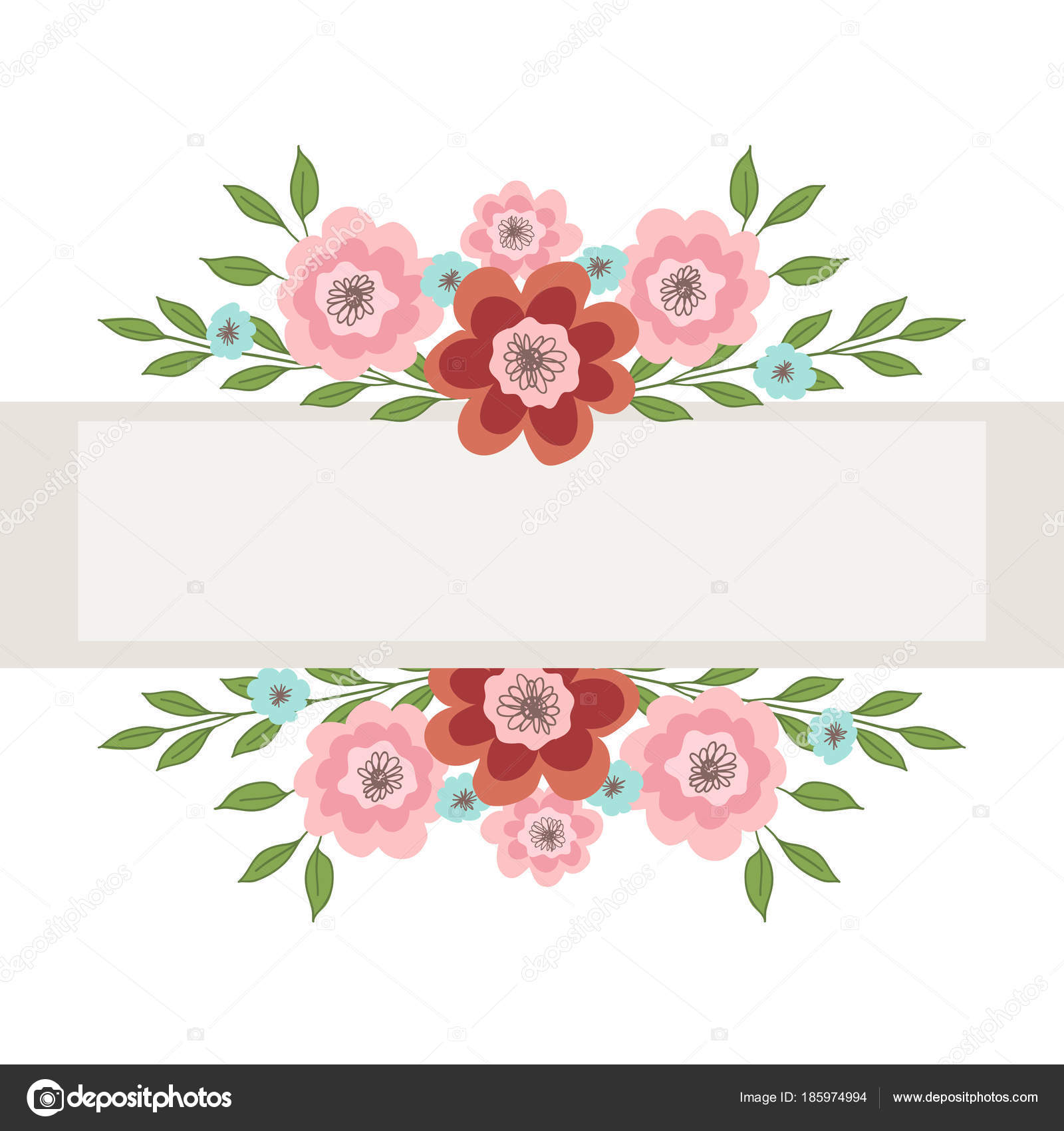 Frame Pink Blue Flowers Inscription Vector Illustration White