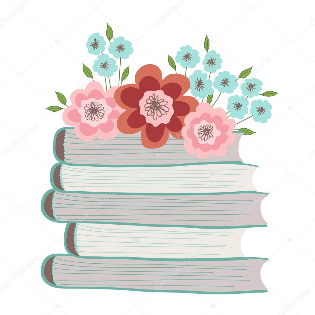 Spring flowers on a pile of books. Illustration on white background
