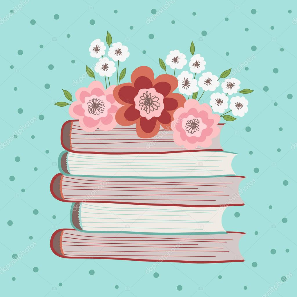 Spring flowers on a pile of books. Illustration on a turquoise background with dots