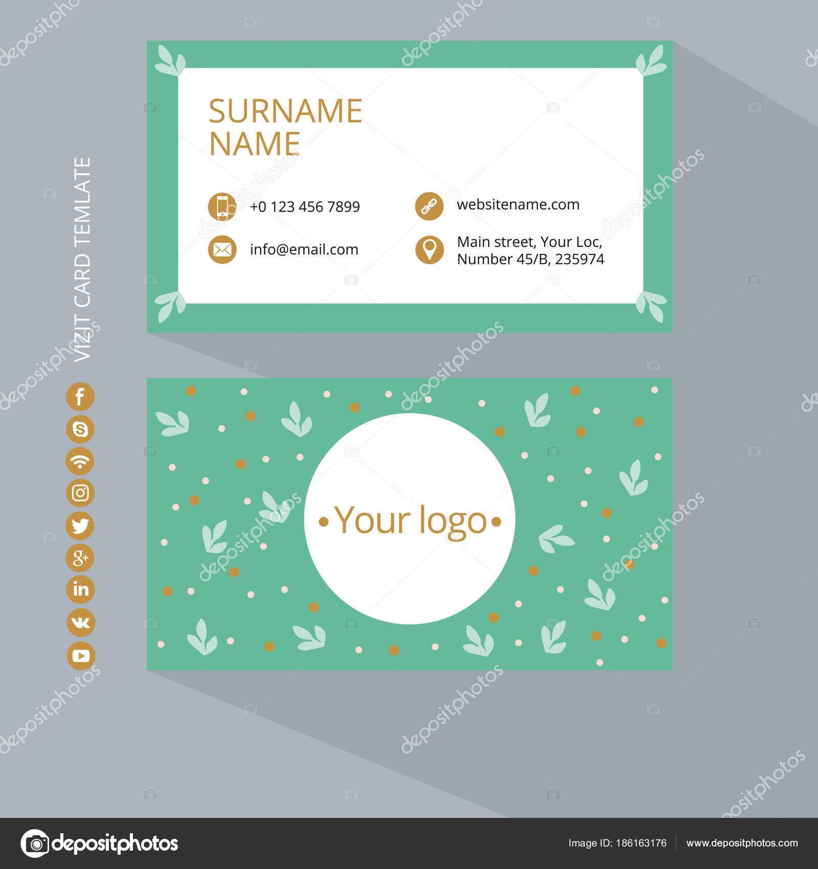 Visitenkarten Druckvorlage Mit Icons Von Sozialen Netzwerken