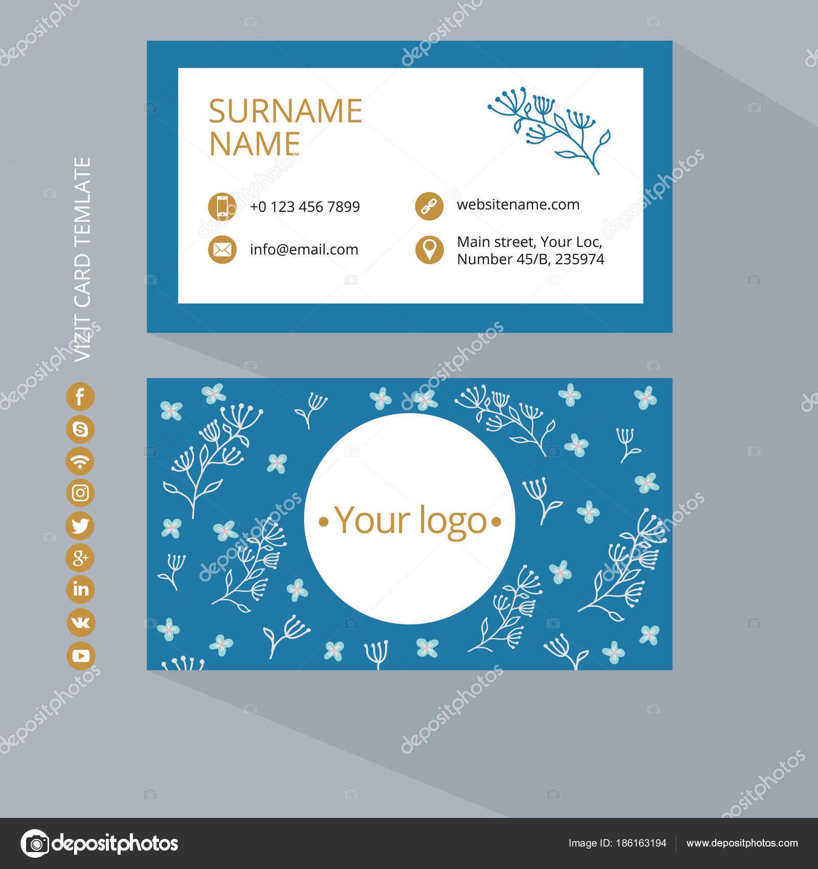 Visitenkarten Druckvorlage Mit Icons Von Sozialen Netzwerken Farben ...